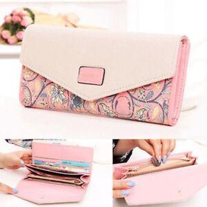 Fashion Women Leather Envelope Clutch Wallet Long Card Holder Purse Bag Handbag