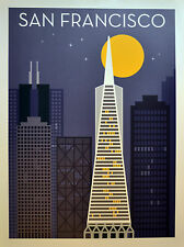 San Francisco vintage style travel poster Transamerica pyramid building at night