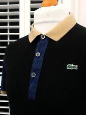 Lacoste Slim Fit Black Colour Block Polo - XL - 6 - Ska Mod Scooter Casuals Rare