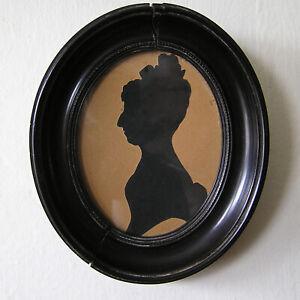 Antique Folk Art Hollow Cut Silhouette of Woman Beaded Gutta Percha Frame 19tn C