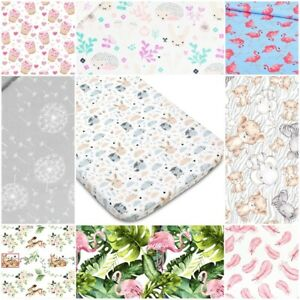 COT FITTED SHEET PATTERNED 100% cotton BED COVER 60x120 70x140 feather elephants
