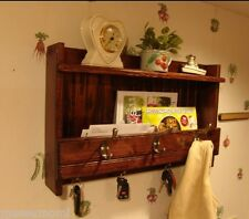 24� Handcrafted Rustic Wood wall mount Mail Key Organizer, Shelf Coat Rack, Dark