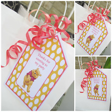 5 x Personalised WINNIE THE POOH Party Bag tags PARTY BAG LABELS GIFT TAGS