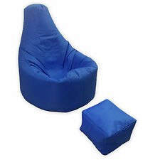 MaxiBean Gaming Beanbag with Foot Stool, Size L - Blue