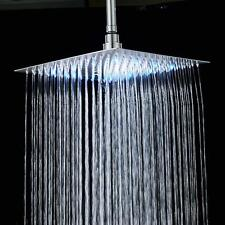8'' LED Chrome Square Rain Shower Head Ceiling Wall Mount Heads Shower Faucet