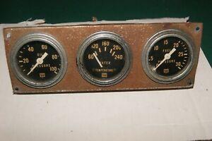 "Stewart Warner vintage  gauges 2 1/16"" used, set of three, brass cases"