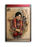 CHINESE PIN UP GIRL Poster Horse Rider Equestrian Print Advertisement Shanghai