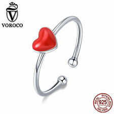 VOROCO 925 Sterling Silver Simple Red Enamel Adjustable Ring Jewelry For Girls