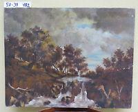 Bild Antike Malerei Öl Landschaft Herbst Bäume IN Herbst Unterzeichnet vb2