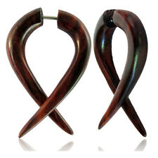 "PAIR FAKE CHEATER PLUGS 2G HEADS SONO WOOD TWISTS SPIRALS PLUG 1"" 1/2 INCH LONG"