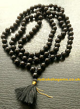 8mm KNOTTED BLACK SCHROL TOURMALINE NECKLACE JAPA MALA 108+1 BEAD REIKI NECKLACE