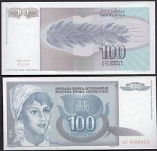 BANCONOTA banknote YUGOSLAVIA 100 DINARA PEASANT CONTADINA  FDS UNCIRCULATED