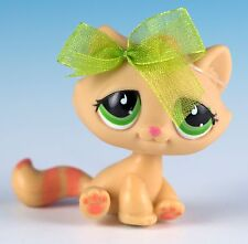 Littlest Pet Shop Tabby Cat #706 Orange Yellow With Green Eyes