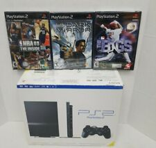 Sony PlayStation 2 Ps2 Slim w/Box, Paper Inserts & 3 New Sealed Games