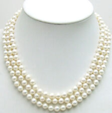 SALE AAA 6-7MM Natural White Round PEARL 3 Strands NECKLACE &14K Gold Clasp-5358