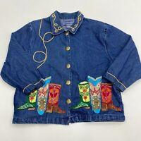 Tantrums Button Up Denim Jacket Women's Medium Long Sleeve Blue Embroidered