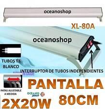 PANTALLA 80CM 2X20W REGULABLE ACUARIO LUZ BLANCA 2 TUBOS T8 PECERA
