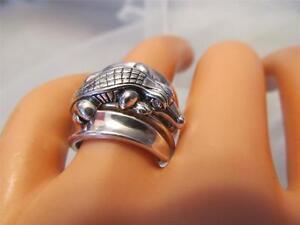 Barry Kieselstein Cord Diamond Eye Alligator Sterling Silver Ring Size 6