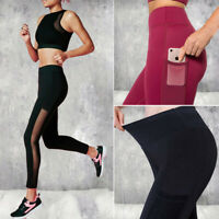 Women High Waist Yoga Leggings Mesh Pockets Fitness Sports Workout Running Pants