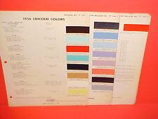 1956 LINCOLN PREMIERE CONVERTIBLE CAPRI HARDTOP COUPE SEDAN PAINT CHIPS CHART 56