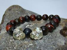 Natural Gemstone ELASTIC CRYSTAL SKULL bracelet TIGER EYE beads