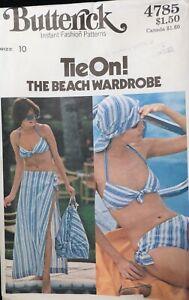 Vtg 1970s Butterick 4785 Bikini Swimsuit Wrap Skirt Bag SEWING PATTERN UnCut 10
