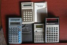 Vintage Calculator Lot of 4 Texas Instruments TI-1031 Ti-30 Panasonic JE-8433U