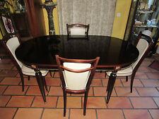 02C12 SALLE A MANGER VINTAGE 1960 TABLE ACAJOU + 4 CHAISES SKAÏ SUR DUNKERQUE