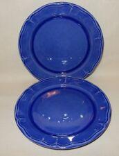 """Set of 2 only Varages France Luberon Cobalt Royal Blue 11"""" Dinner Plates"""