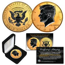 1964 BU Silver JFK Half Dollar 2-Sided 24K GOLD & Black Ruthenium Highlights BOX