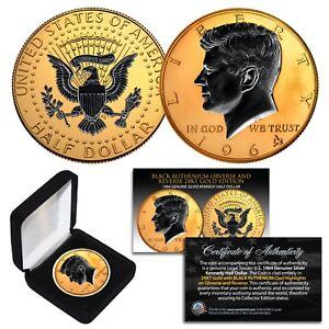 1964 BU Silver JFK Half Dollar 2-Sided 24K GOLD & Black Ruthenium Highlights BOX