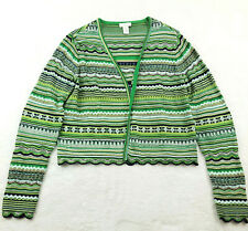 Chico's 0 (Women's Size 4) Open Front Cardigan Sweater Sparkly Striped Green
