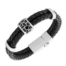 Black Genuine Leather Braided Silver-Tone Wristband Womens Bracelet with Clasp