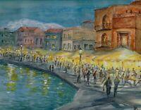 """Night Market"" ORIGINAL signed watercolor painting Chania venetian harbor Greece"
