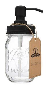 Classic Farmhouse Mason Jar Soap Dispenser - Black