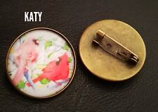 Vintage Birds Round Small  Brooch Pins Glass Cabochon Flower Tree Broach