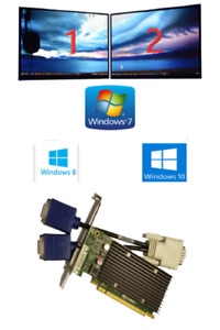 Dell Optiplex 3010 7010 9010 NVIDIA NVS 300 Dual VGA Monitor Video Card Win 10 7