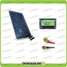 Kit pannello Solare 200W 12V Fotovoltaico Roulotte Caravan Batteria Servizi