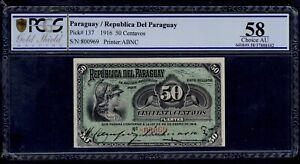 PARAGUAY  50 CENTAVOS  L. 1916  PICK # 137a  PCGS 58 CHOICE AU..