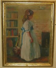 Vintage Chas Courtney Curran School YOUNG GIRL Portrait Impressionist PAINTING