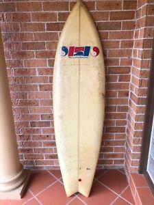 Larry Bertelmann swallowtail twin fin vintage surfboard