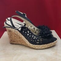 Db Dk Fashions Black Flower Wedges Size 7.5