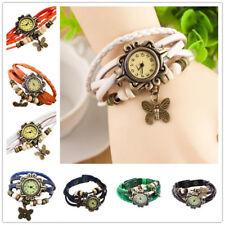 Retro Weave Wrap Lady Bead Butterfly Dangle Bracelet Bangle Quartz Wrist Watch