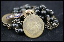 † c.1800 SERVITE SEVEN SORROWS WOOD CHAPLET SACRED HEART MEDALS FRENCH PRIEST †