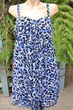 CROSSROADS Flowing Black/Blue Animal Print DRESS Size 12 NEW rrp $$59.95