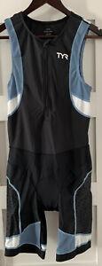 TYR Men's Medium Black Grey White Tri Suit Short John Front Zipper USA Made New