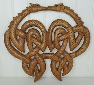 """Celtic Double Dragons Knot Hand Carved Wood Wall Plaque 13"""" x 12"""""""