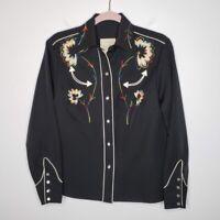 H Bar C California Vintage Ranchwear Western Shirt Embroidered Mens Size 34 1960