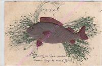 CPA DECOUPIS 1er avril poisson herbe recevez ce beau poisson ca1907