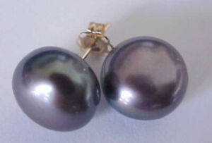 Perfect jewelry 10-11mm black South Sea natural Pearl 14K Gold Earring